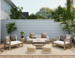 patio with white furniture and pricacy fence shingles in delaware